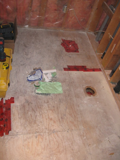 Replace bathroom subfloor
