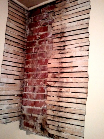 Drywalling over Brick Chimney and Lath Wall-room-3-wall-removed.jpg