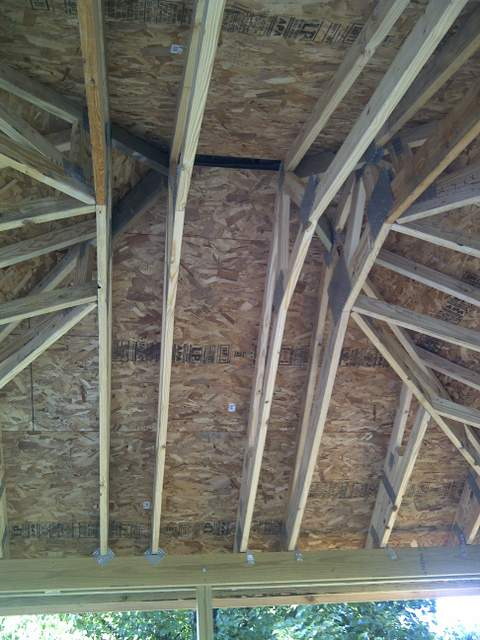 Painting Particle Board Roofing In A Screen House
