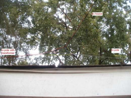 Can the hot wire be under tension in an overhead drop??-service-drop-over-garage-05oct2011.jpg