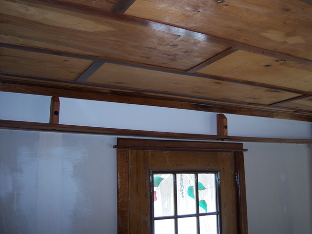 hiding that ugly 2x12 beam in new dining room-shelf1.jpg