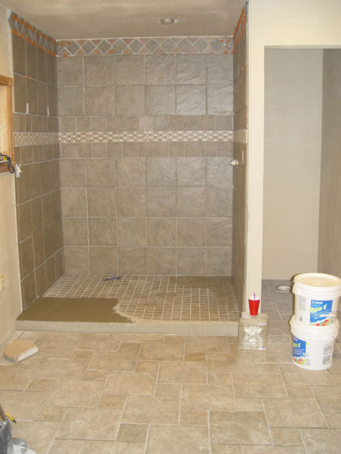 Tile Man Used Mastic Glue On Entrance To Shower Tiling
