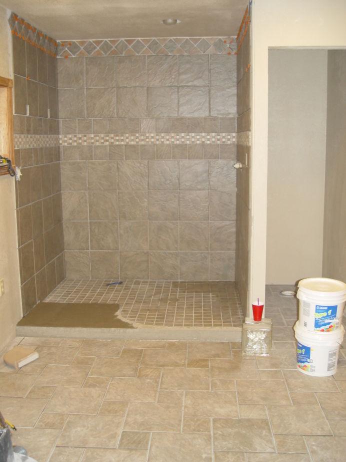 tile man used mastic glue on entrance to shower-shower-floor-crap-mastic.jpg