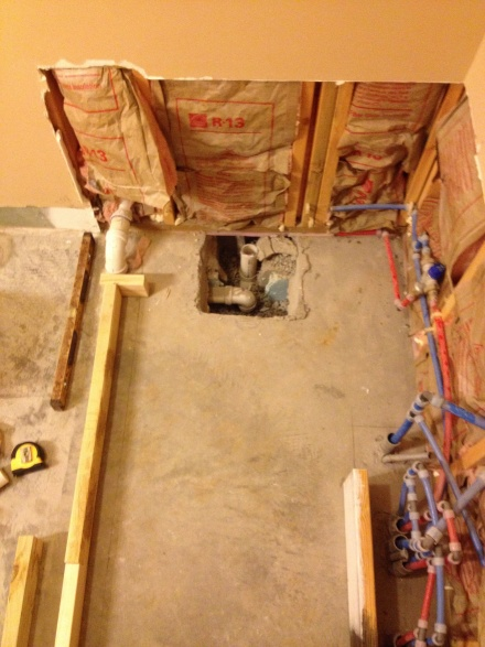 replacing garden tub wtile shower on a slab floor need