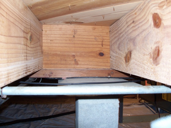 Bad smell in crawl space.-space-between-joists-insulation-removed.jpg