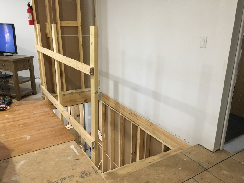 How To Anchor Half Wall At Stairs Stair Railing