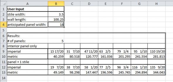Wainscoting layout calculator inch calculator.