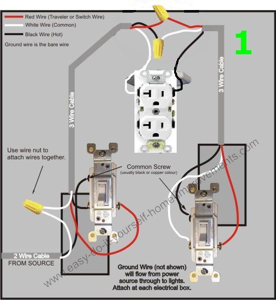 trouble wiring three way switch electrical diy chatroom home rh diychatroom com wiring 3 way switch outlet combo Wiring a Light Switch and Outlet Together