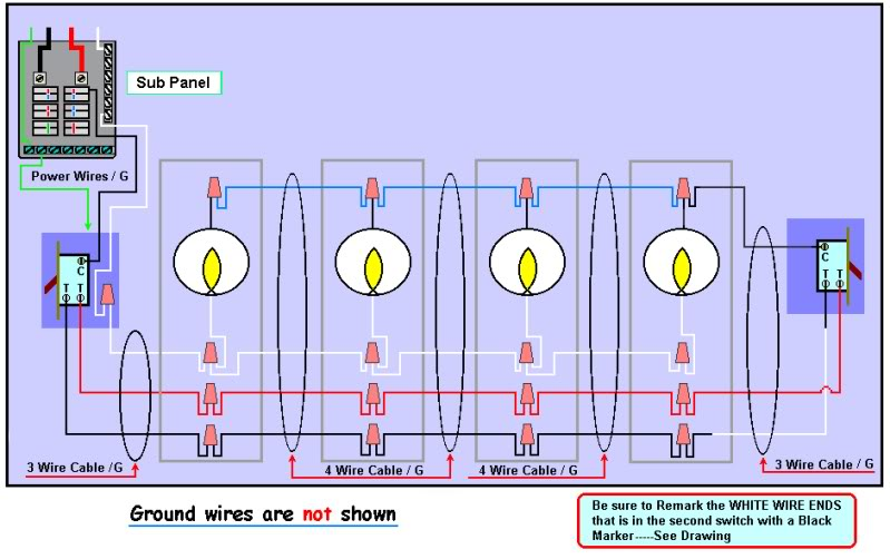 3 And 4 Way Switch - Wiring Diagram