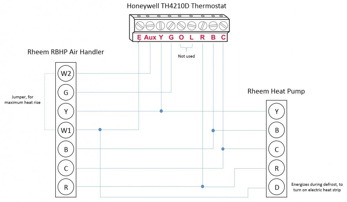 Honeywell T-stat    Rheem Heat Pump  L  E  Aux  W1  W2 Wiring Questions - Hvac