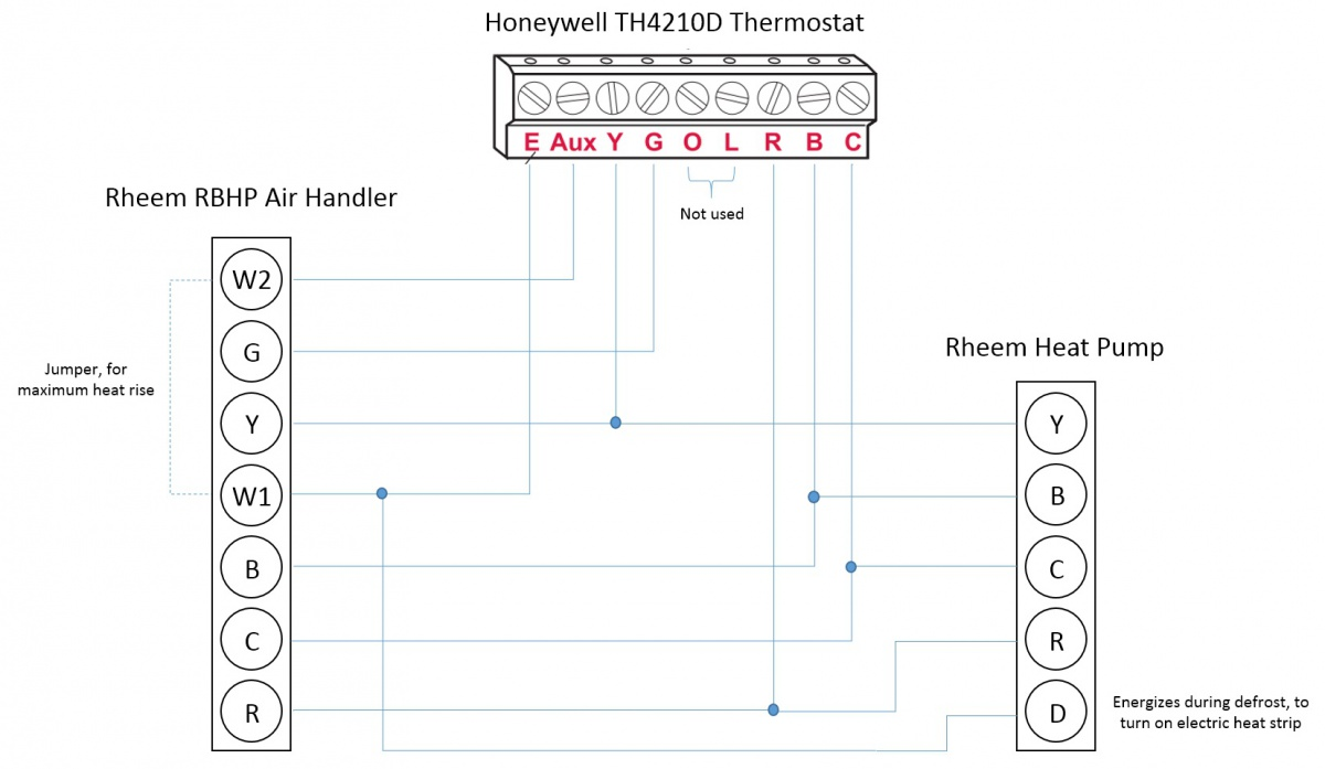 Honeywell T-Stat / Rheem heat pump: L, E, Aux, W1, W2 wiring questions    DIY Home Improvement ForumDIY Chatroom