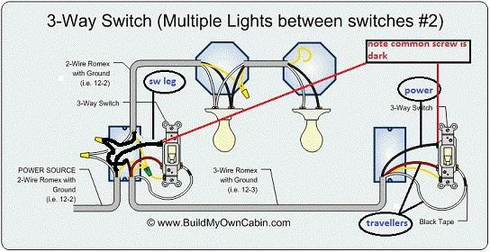 how to connect in parallel 3 light with 3 switches