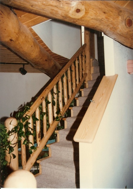 Rustic Lodge Stair Railing Top Handrail