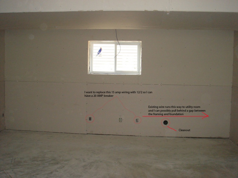 run new 12 2 wiring in finished basement outer wall electrical rh diychatroom com Wiring Basement Lights Wiring Basement Lights