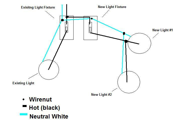 howto adding two exterior lights switch piggyback new switch off rh diychatroom com Porch Light Wiring outdoor light sensor switch wiring