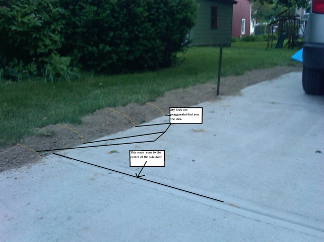 New Concrete Driveway Pitched Towards House - Building