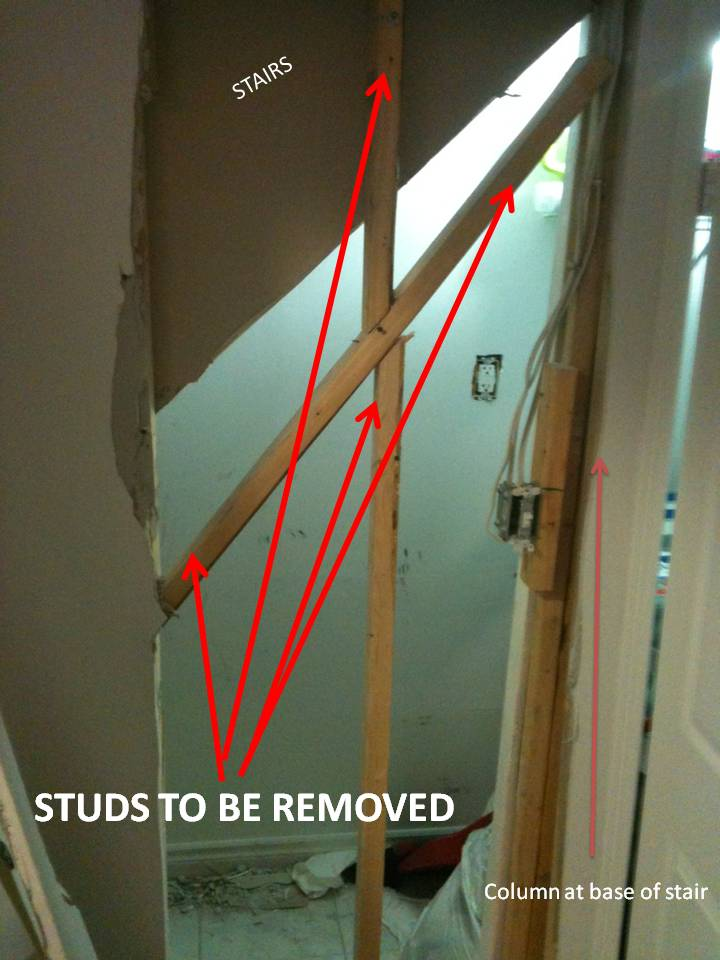 Removing wall under stairs. is it safe to remove these studs?-wall5.jpg