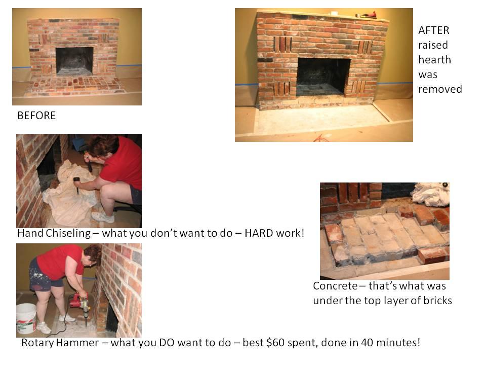 Removing Raised Brick Fireplace Hearth Ideas