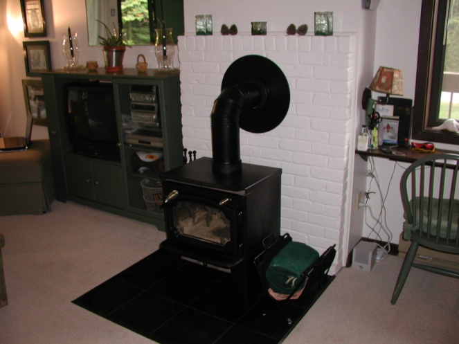 painting a woodstove brick hearth woodstove afterjpg