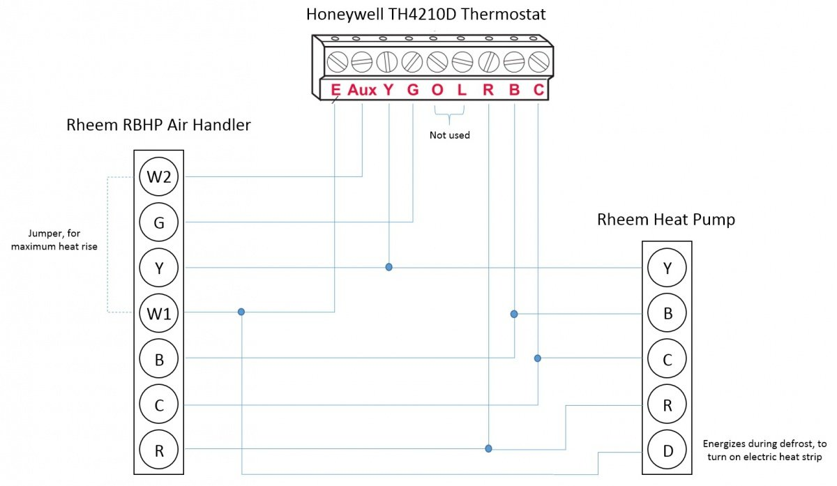 Diagram Honeywell T Rheem Heat Pump L E Aux W1 W2