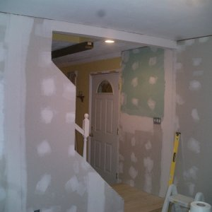 Drywalling -- Making the transition from DR to the living\tv room.