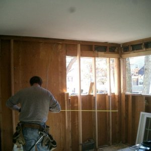 "Rebuild -- old windows out...   measuring to make things ""centered"""