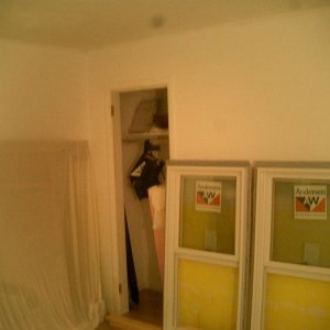 """Demo -- prior to removing old drywall  note -- middle of pic is the original closet that I turned into the """"serving nook"""""""