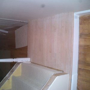 """Flooring -- had to replace the landing at the base of the stairs...     What great fun the """"nail gun for hardwood flooring is""""  -- don't get me wrong..."""