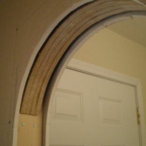 "I used 3/4"" particleboard and cut the inside of the arch to lay the drywall against it."