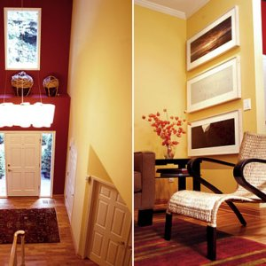 I carried a sunny yellow into a dark entry/hallway, color is the key living in the gloomy Northwest.