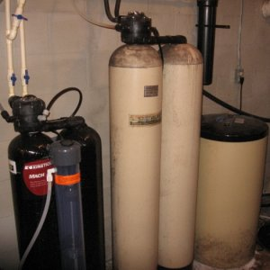 28 year old softener (brown) and 6 year old sulfur guard  Avery - Oak Harbor  Hardness was 89 gpg, 2.0 iron, 4ppm sulfur.  Follwed by RO