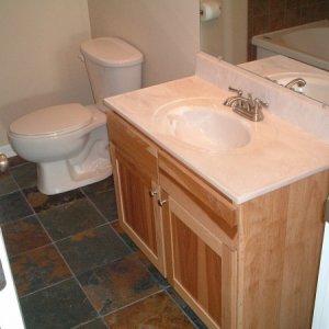 Slate on bathroom floor