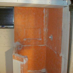 3) WATERPROOFING! Kerdi in shower area. DensArmor walls elsewhere (paperless drywall)