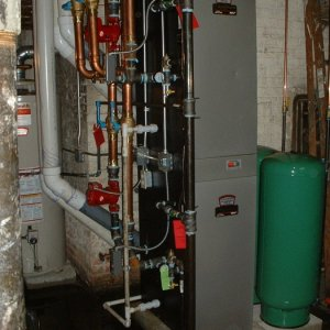 Two Burnham Alpine hot water boilers stacked
