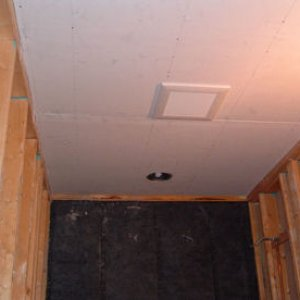 "Ceiling rocked with DensArmor Plus, paperless drywall system. Panasonic, Energy Star rated ventilation fan. Ceiling also insulated with 16"" of..."