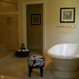 Free standing tubs have come a long way. This tub is by Kohler.  What I loved about this tub is the base of it.  It gives a more modern feel to a...