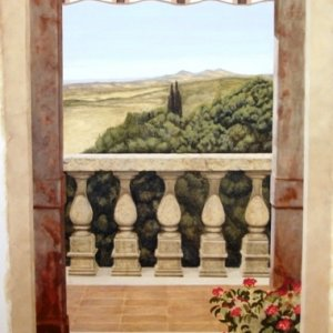 I love painting murals and trompe loeil as you can see here. this is a 4x8 mural on cambric cloth of an Italian landscape with architectual features...