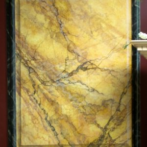 Cant have pictures of decorative finishes without a couple of marble examples, This trompe loeil sienna marble panel is a flat surface painted to...