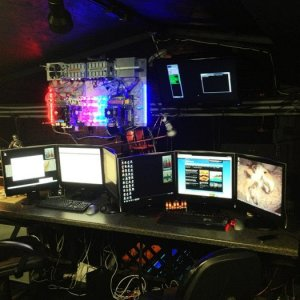 """current view of the control loft. """"you can never have enough monitors"""" :-P"""