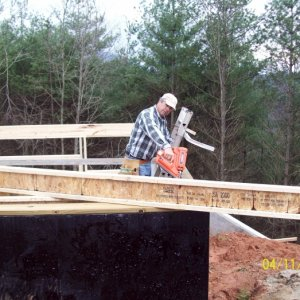 Setting in the wood I-joists.