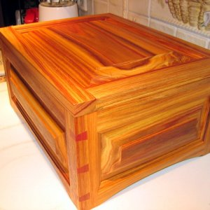 Cigar humidor I made out of canary wood. Raised panels on top and all four sides. Mitered corners with dovetail splines.