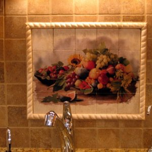Painted tile centerpiece.