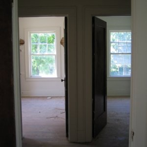 second floor, view across the hall from big room, two small bedrooms