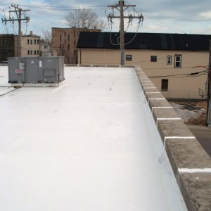 Liquid applied roof system (coating) completed in Chicago.