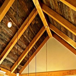 Gray Barnwood Ceiling - by Historic Flooring