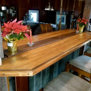 Heart Pine Bar Top with Walnut inlay/pegging - by Historic Flooring
