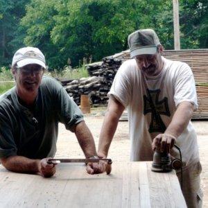 Steve & Craig working on Wormy Chestnut Island - by Historic Flooring