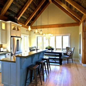 Heart Pine Flooring and Gray Barnwood Ceiling - by Historic Flooring