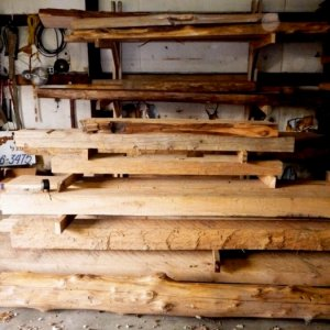 We stock a myriad of wood logs, beams and slabs - by Historic Flooring