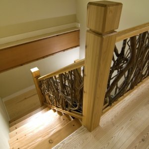 Heart Pine Stairs with Laurel Branch Spindling - by Historic Flooring
